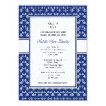 Silver and Royal Blue Fleur de Lis Graduation Custom Announcement