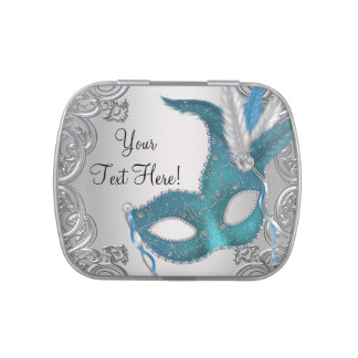 Silver and Teal Blue Masquerade Party Candy Candy Tin