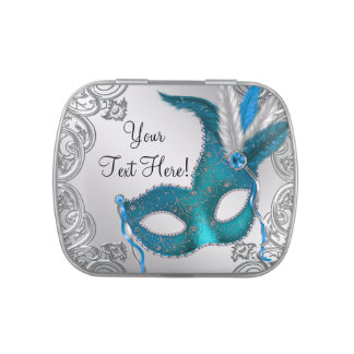 Silver and Teal Blue Masquerade Party Candy Candy Tins