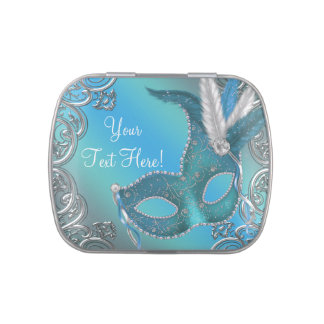 Silver and Teal Blue Masquerade Party Candy Jelly Belly Tin