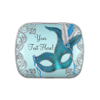 Silver and Teal Blue Masquerade Party Candy Jelly Belly Tins