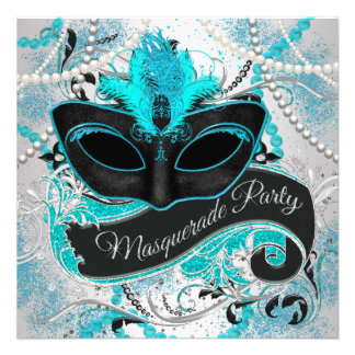 Silver and Teal Blue Masquerade Party Personalized Announcement