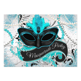 Silver and Teal Blue Masquerade Party Announcements