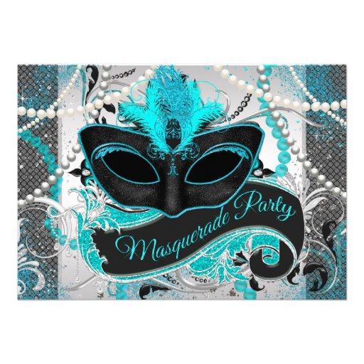 Silver and Teal Blue Masquerade Party Invitations