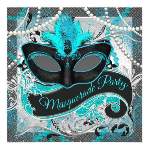 Silver and Teal Blue Masquerade Party Custom Announcement