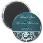 Silver and Teal Damask II Wedding Favour Magnet