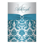 Silver and Teal Damask Sweet Sixteen Invitation 13 Cm X 18 Cm Invitation Card