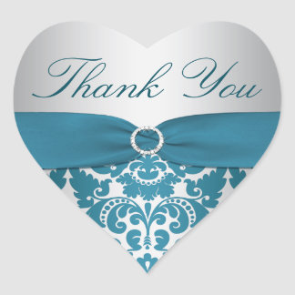 Silver and Teal Damask Thank You Sticker