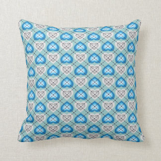 Silver and turquoise fade hearts argyle pattern throw pillow