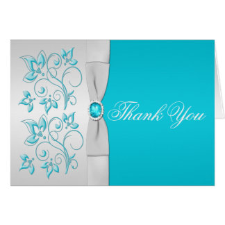 Silver and Turquoise Floral Thank You Card