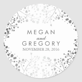Silver and White Baby's Breath Wedding Classic Round Sticker