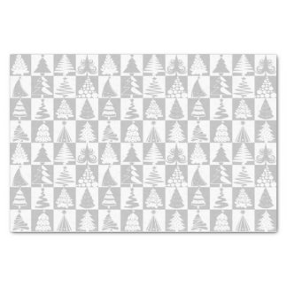 Silver And White Christmas Tree Holiday Pattern Tissue Paper