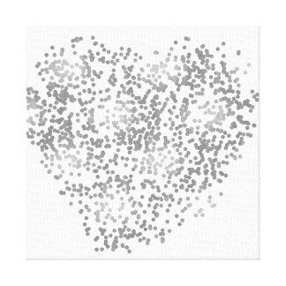 Silver and White Confetti Heart Canvas Print
