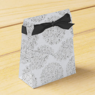 Silver And White Damask Favour Box