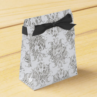Silver And White Damask Favour Boxes