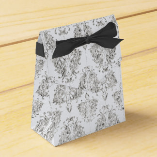 Silver And White Damask Party Favour Boxes