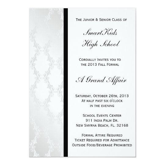 Silver and white damask school prom or formal invitation zazzle silver and white damask school prom or formal invitation stopboris Image collections