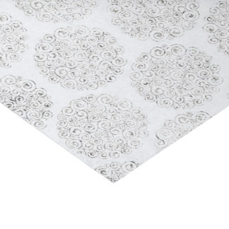 Silver And White Damask Tissue Paper