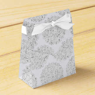 Silver And White Damask Wedding Favour Box