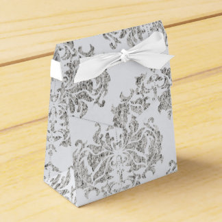 Silver And White Damask Wedding Favour Boxes