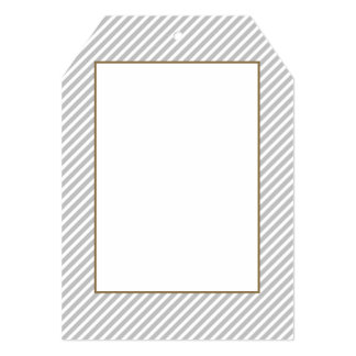 Silver and White Diagonal Christmas Candy Stripes Custom Invitation Card