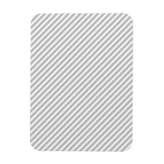 Silver and White Diagonal Christmas Candy Stripes Magnets