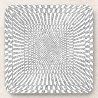 Silver and White Distorted Checkered Pattern Coaster