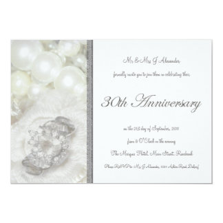 Silver and White Jewels 30th Wedding Anniversary 13 Cm X 18 Cm Invitation Card