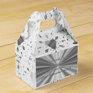 Silver and  white lace heart wedding wedding favour boxes