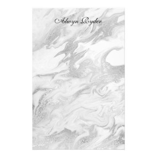 Silver and White Marbled Stationery