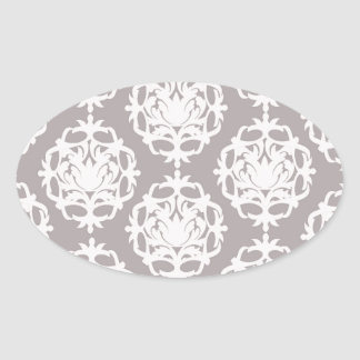 silver and white ornate damask oval sticker