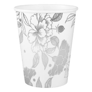 Silver and White Peonies Pattern Elegant Wedding Paper Cup
