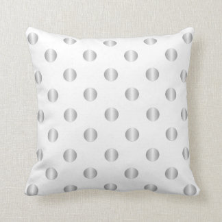 Silver And White Polka Dots Pillow