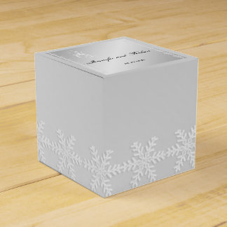 Silver and White Snowflake Winter Favor Box Favour Boxes