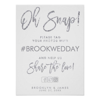 Silver And White Wedding Hashtag Sign Poster