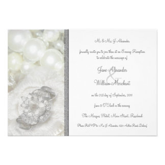 Silver and White Wedding Jewels Evening Invitation