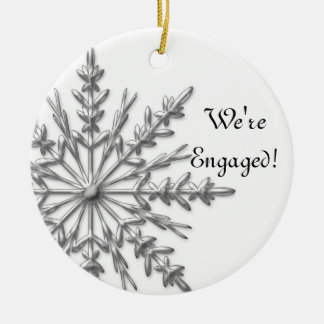 Silver and White Winter Snowflake Engagement Christmas Ornament