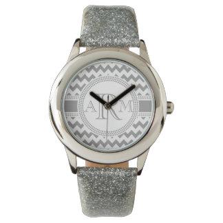 Silver and White ZigZag Chevron Monogram Wristwatches