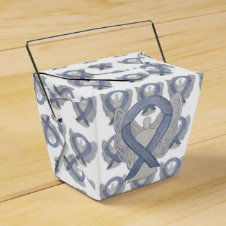 Silver Angel Awareness Ribbon Take Out Favor Boxes Favour Box