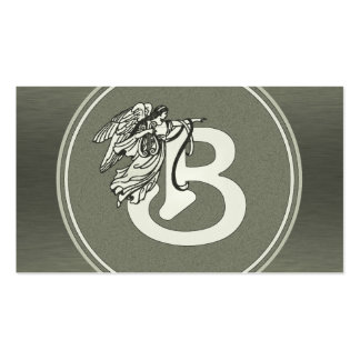 Silver Angel Monogram Letter B Business Card