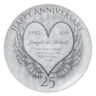 Silver Angel Wings and Heart Party Plates