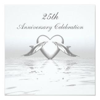 Silver Anniversary Dolphins and Heart 13 Cm X 13 Cm Square Invitation Card