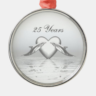 Silver Anniversary Dolphins and Heart Christmas Ornament