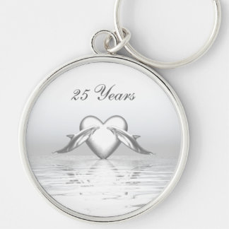 Silver Anniversary Dolphins and Heart Key Ring