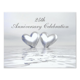 Silver Anniversary Hearts 11 Cm X 14 Cm Invitation Card