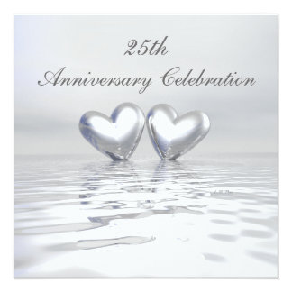 Silver Anniversary Hearts 13 Cm X 13 Cm Square Invitation Card