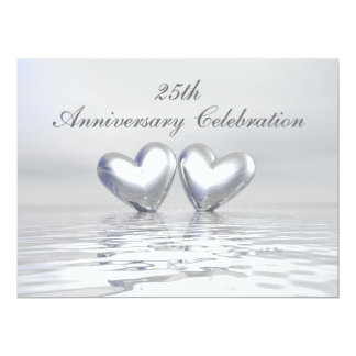 Silver Anniversary Hearts 17 Cm X 22 Cm Invitation Card