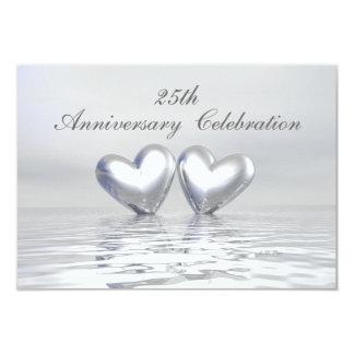 Silver Anniversary Hearts 9 Cm X 13 Cm Invitation Card