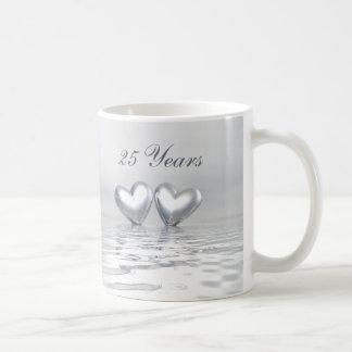 Silver Anniversary Hearts Basic White Mug