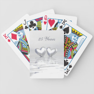 Silver Anniversary Hearts Bicycle Playing Cards